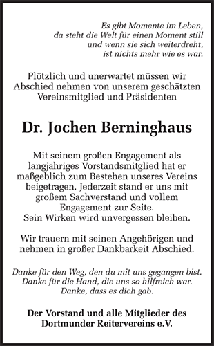 Traueranzeige Dr. Jochen Berninghaus